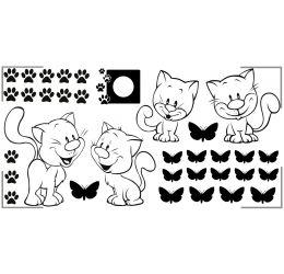 Szablon malarski koty przy zegarze